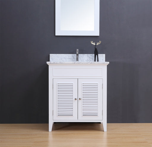 Bryan- 30 inch Traditional Freestanding White Bathroom Vanity w/ Marble Top