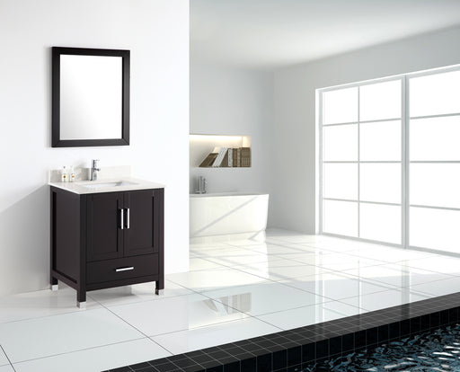 Carter- 24 inch Modern Freestanding Espresso Bathroom Vanity w/ Quartz Top