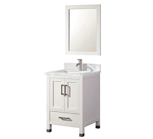 Cooper- 24 inch Traditional Freestanding White Bathroom Vanity w/ Marble Top