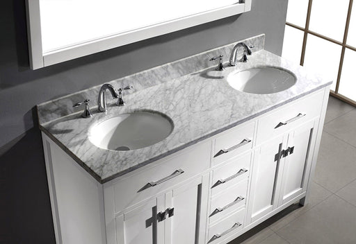 Blaine- 72 inch Traditional Freestanding White Double Bathroom Vanity w/ Marble Top
