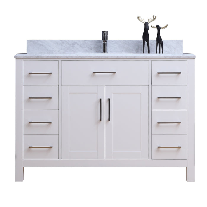 Tyler 48 inch modern freestanding white bathroom vanity w - 48 inch white bathroom vanity with top ...