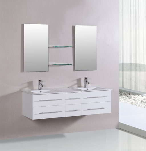 Alessandra- 60 inch Modern Wall Mounted White Bathroom Vanity w/ Ceramic Top