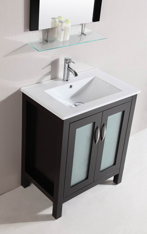 Eric- 28 inch Modern Freestanding Espresso Bathroom Vanity w/ Ceramic Top