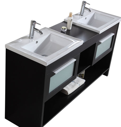 Brittany- 60 inch Modern Freestanding Espresso Double Bathroom Vanity w/ Ceramic Top