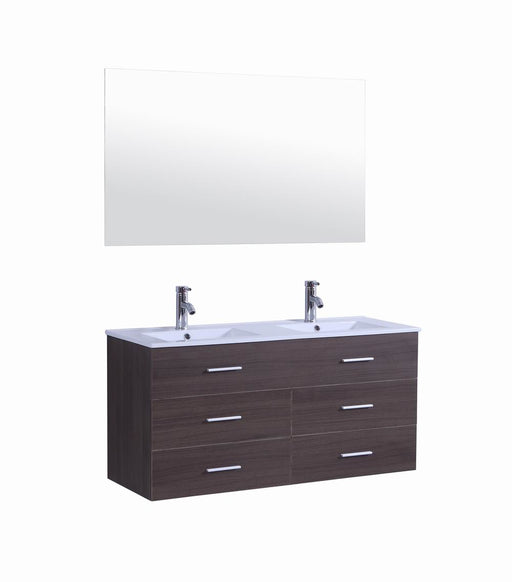 Paxton- 48 inch Modern Veneer Wall Floating Bathroom Vanity w/ Double Sink
