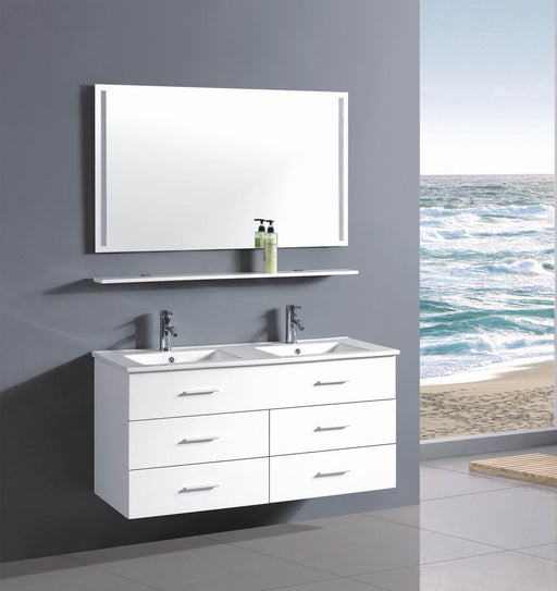 Alexandra- 48 inch Modern Wall Mounted Double Sink Bathroom Vanity