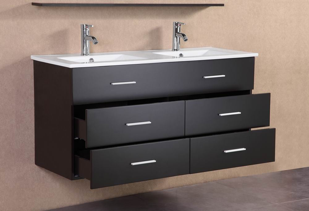 alexandra 48 inch modern wall mounted double sink bathroom vanity belvedere bath. Black Bedroom Furniture Sets. Home Design Ideas