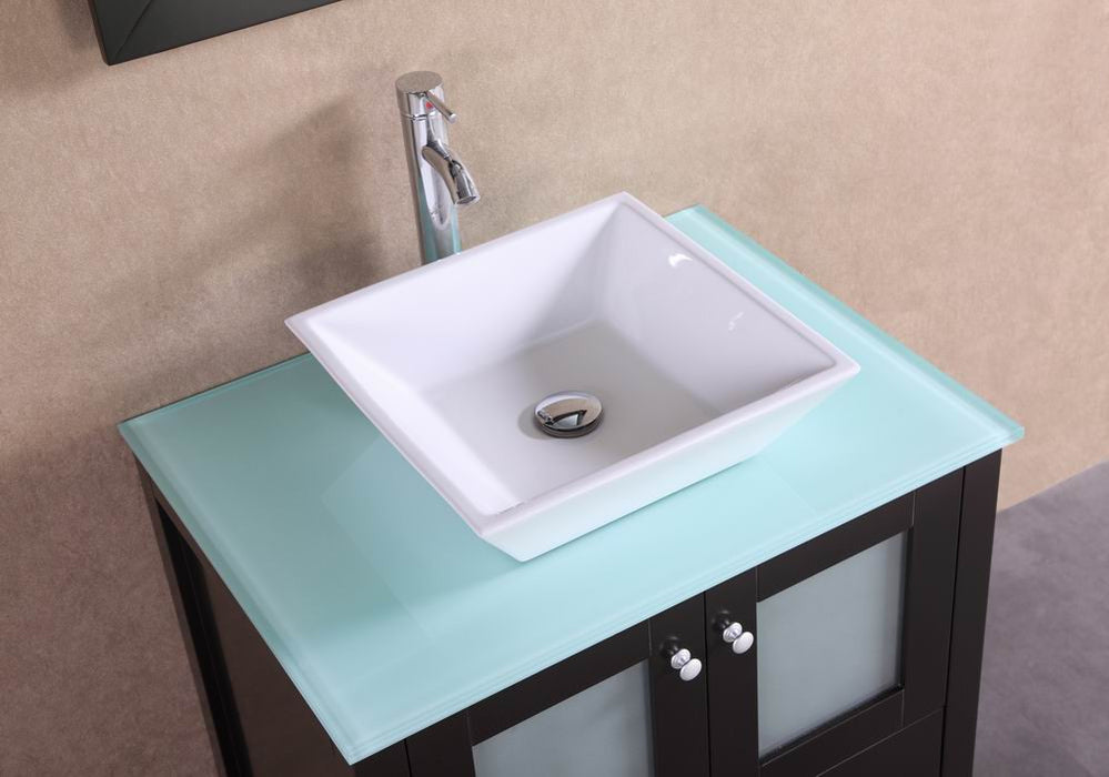 Damien- 30 Inch Modern Espresso Bathroom Vanity W/ Glass Top & Vessel