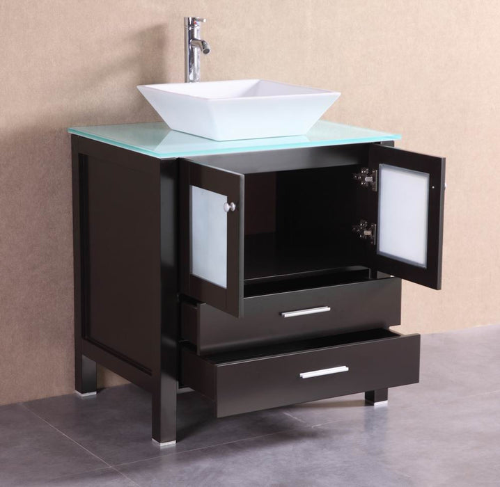 Damien 30 Inch Modern Espresso Bathroom Vanity W Glass Top