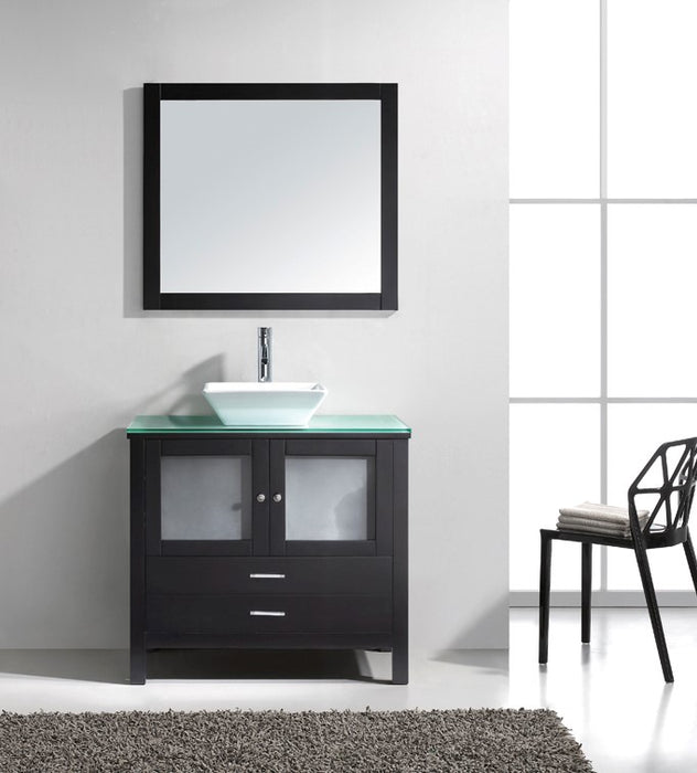 Samantha- 36 inch Modern Espresso Bathroom Vanity w/ Glass Top & Vessel Sink