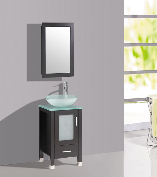 Chelsea- 18 inch Espresso Bathroom Vanity w/ Glass Sink Bowl