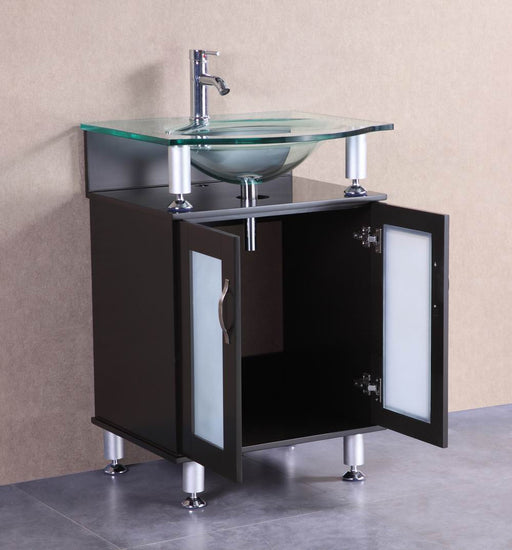 Brendan- 24 inch Modern Espresso Bathroom Vanity w/ Tempered Glass Countertop & Sink