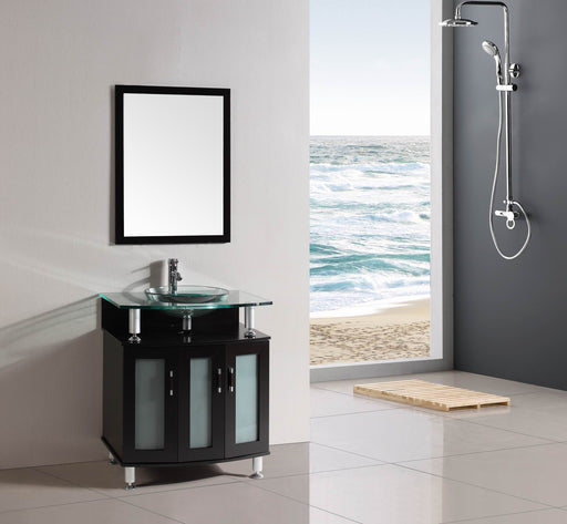 Michael- 30 inch Freestanding Modern Espresso Bathroom Vanity w/ tempered glass top & basin