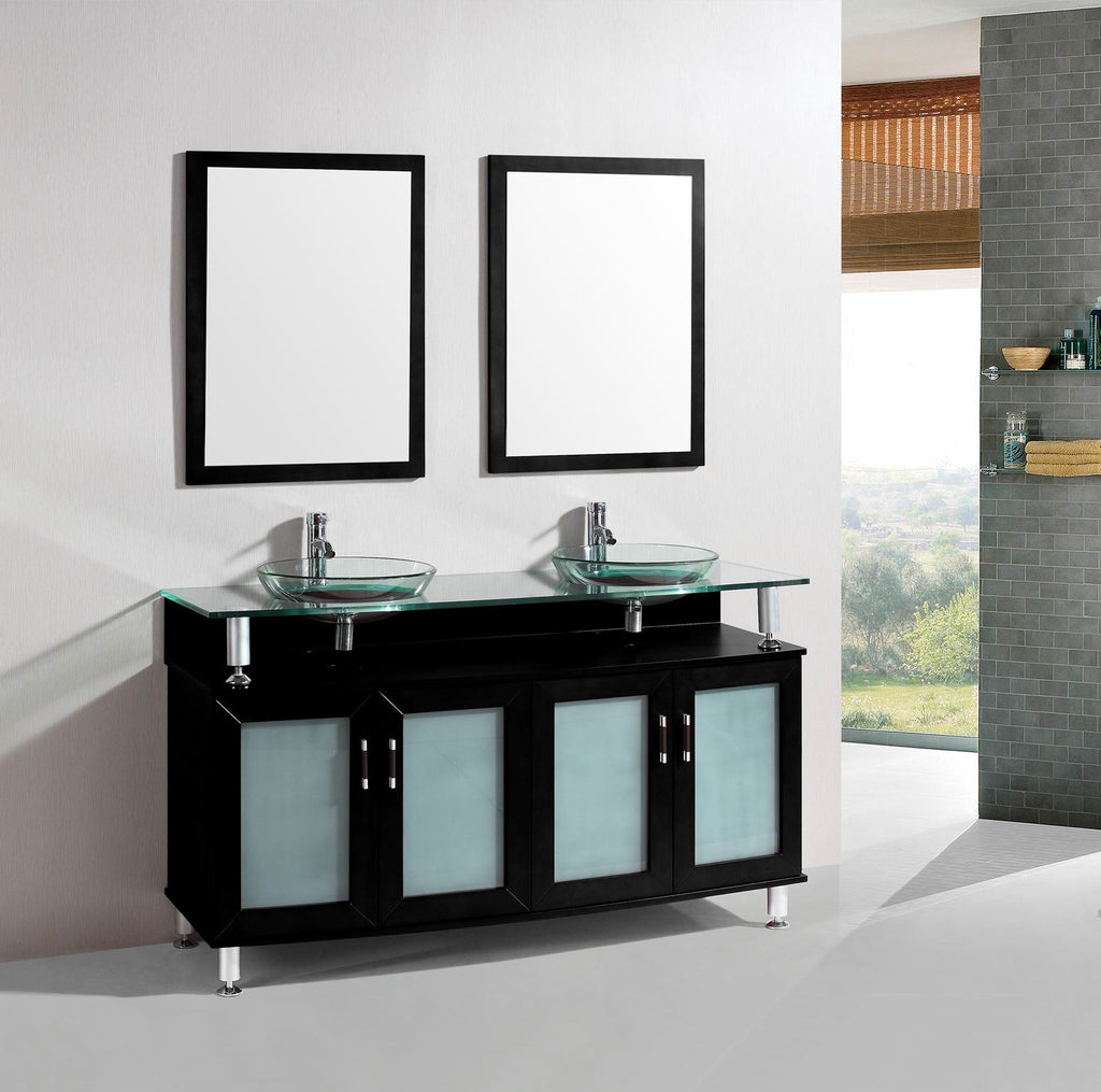 Bathroom Vanity Glass Top 60 inch belvedere freestanding modern espresso double bathroom