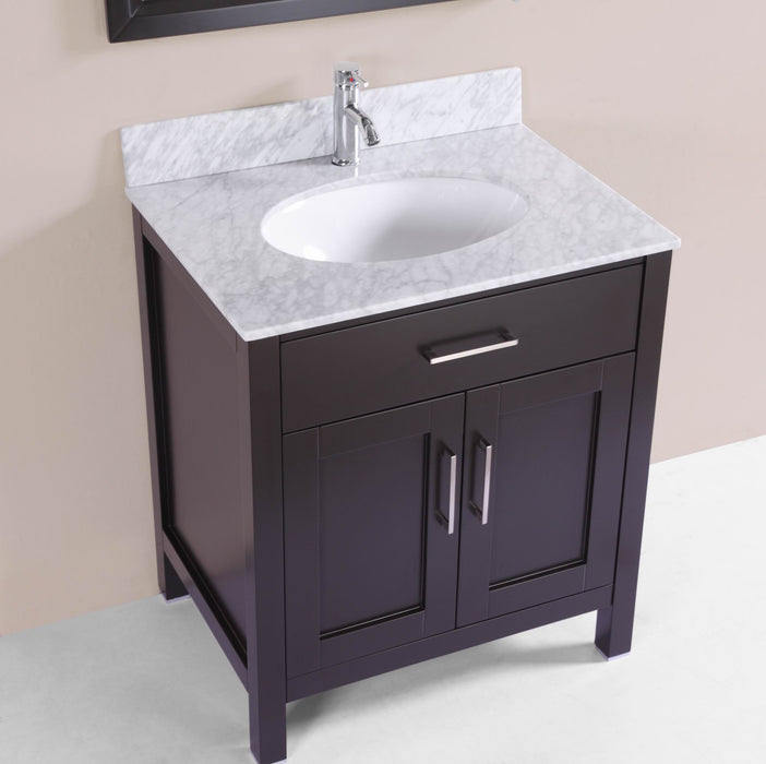 Keegan 30 inch freestanding modern espresso bathroom vanity w marble belvedere bath for Freestanding 24 inch bathroom vanity