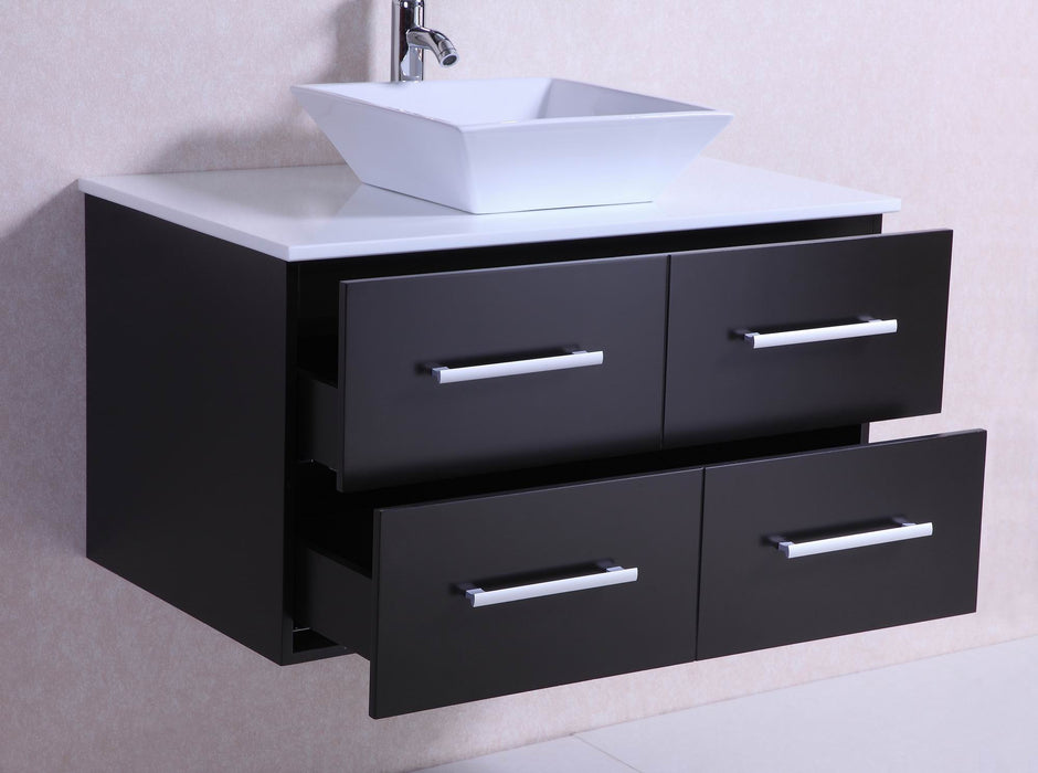 36 Inch Belvedere Modern Wall Mounted Espresso Bathroom Vanity W/ Stone  Top