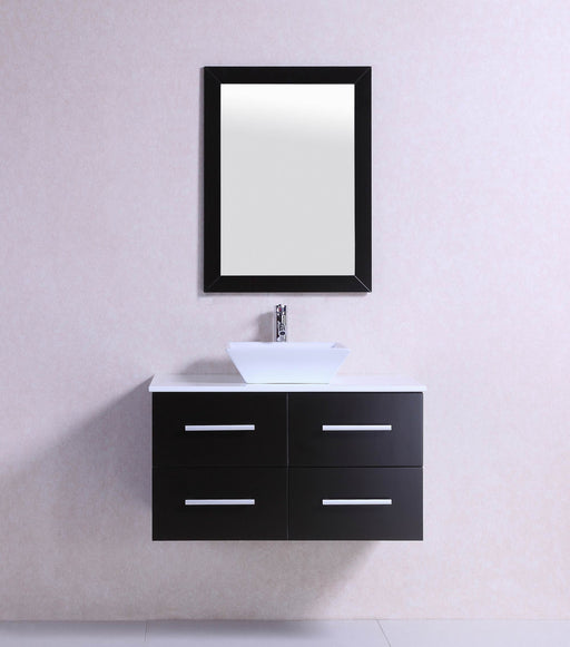 David- 36 inch Belvedere Modern Wall Mounted Espresso Bathroom Vanity w/ Stone Top