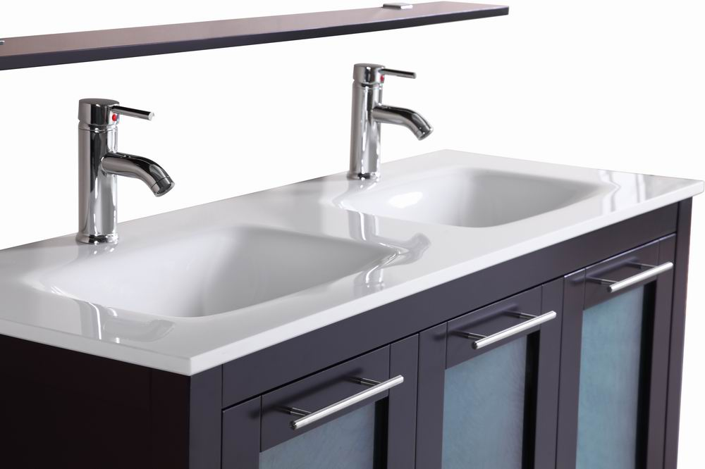 Monroe- 48 inch Freestanding Modern Espresso Double Sink Bathroom Vanity w/  Stone Top