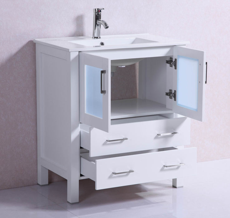 Amelia 30 inch modern freestanding white bathroom vanity w ceramic t belvedere bath for Freestanding 24 inch bathroom vanity