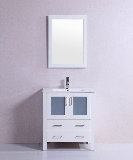 Amelia- 30 inch Modern Freestanding White Bathroom Vanity w/ Ceramic Top