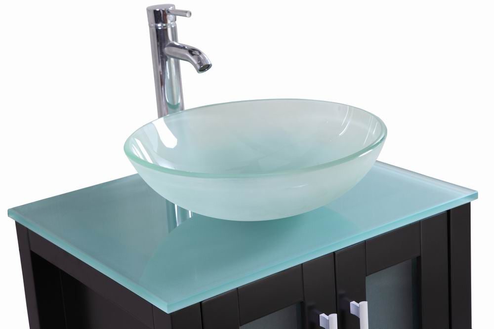 Stephen 24 Inch Espresso Bathroom Vanity W Glass Sink Bowl Belvedere Bath