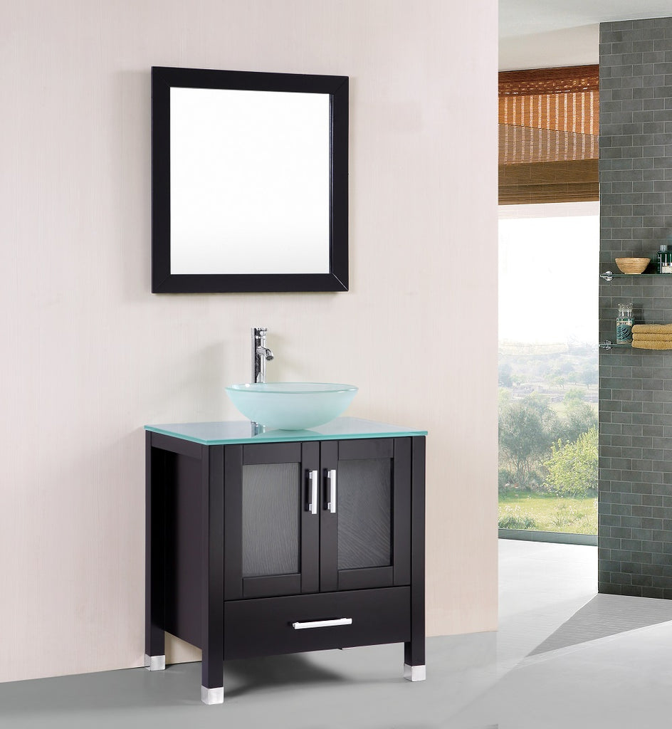 Jessica 30 Inch Espresso Bathroom Vanity W Glass Sink Bowl Belvedere Bath