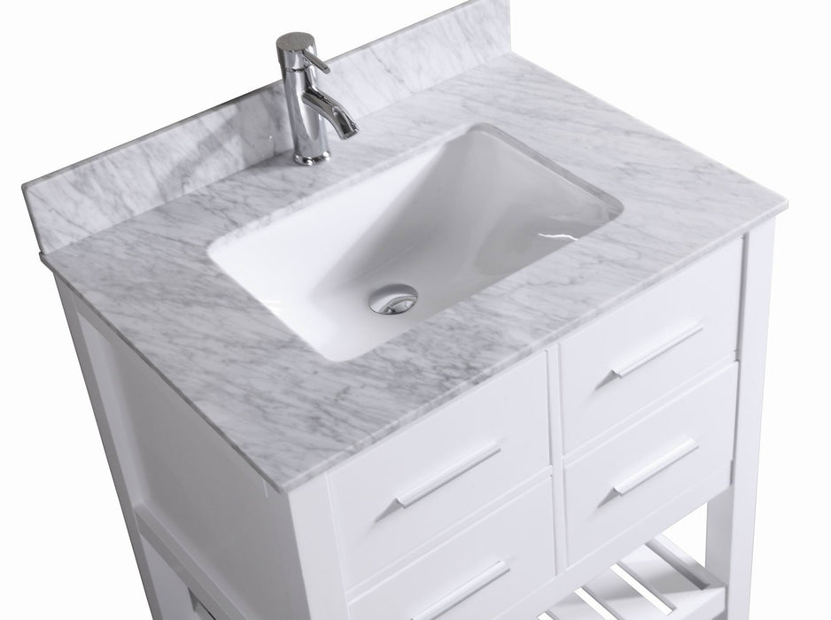 ... Harper  30 Inch Traditional Bathroom Vanity W/ Marble Top ...
