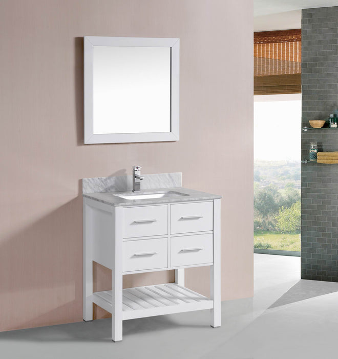 Harper 30 Inch Traditional Bathroom Vanity W Marble Top Belvedere Bath