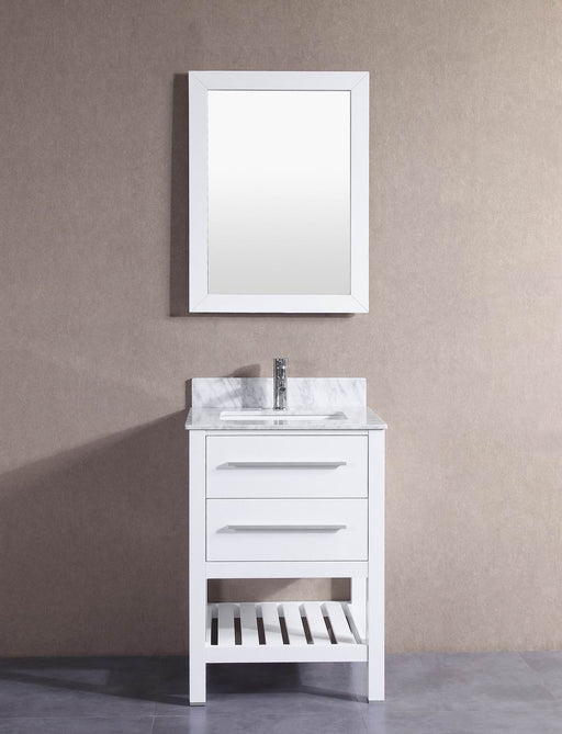 Hailey  24 Inch White Bathroom Vanity W/ Marble Top