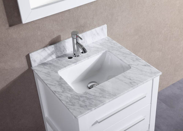 24 Inch Belvedere White Bathroom Vanity W Marble Top