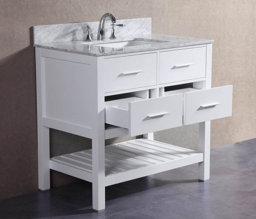 Charlotte- 36 inch White Bathroom Vanity w/ Marble Top