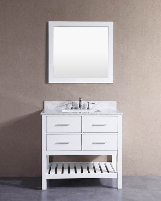 ... Charlotte  36 Inch White Bathroom Vanity W/ Marble Top ...