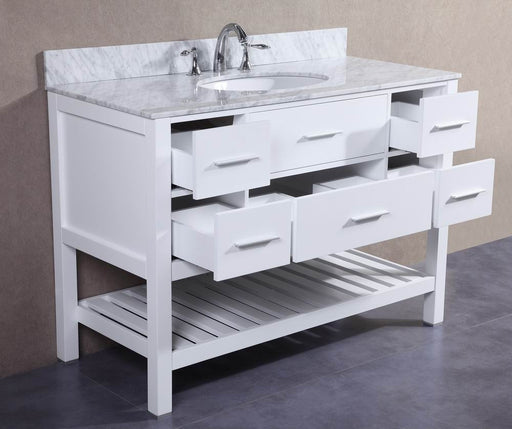 Keith- 48 inch White Bathroom Vanity w/ Marble Top