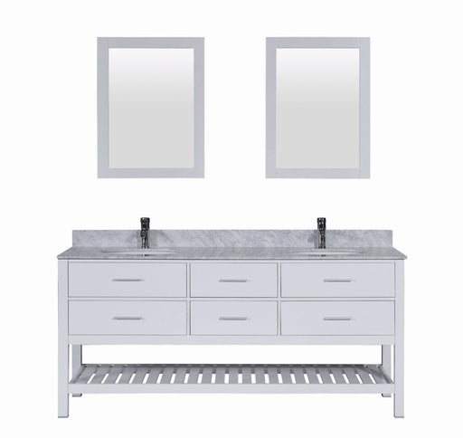 Chad- 72 inch White Bathroom Vanity w/ Double Sink & Marble Top