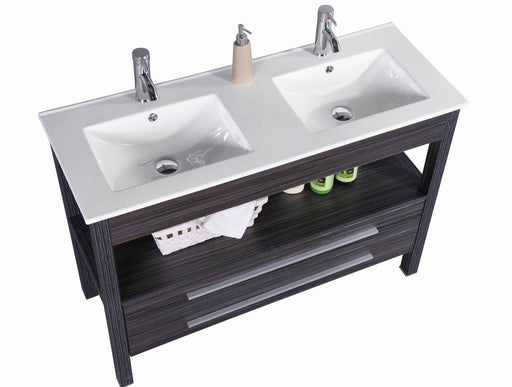 Dominic- 48 inch Freestanding Modern Veneer Double Sink Bathroom Vanity w/ Stone Top