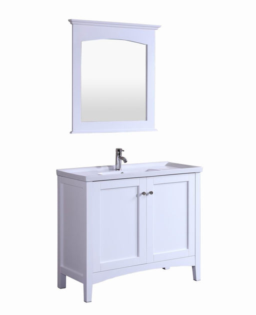 Paul- 40 inch Traditional Freestanding White Bathroom Vanity w/ Ceramic Top