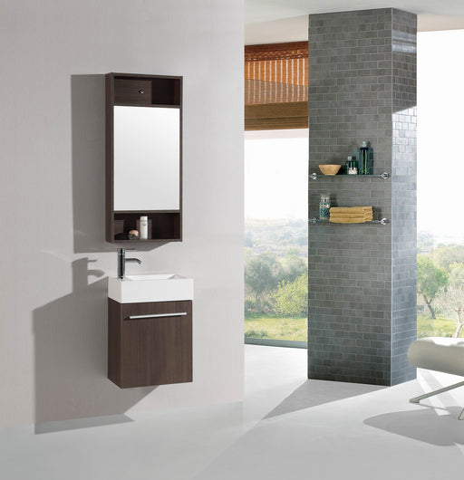 Brantley- 18 inch Modern Wall Mounted Espresso Bathroom Vanity w/ Resin Sink