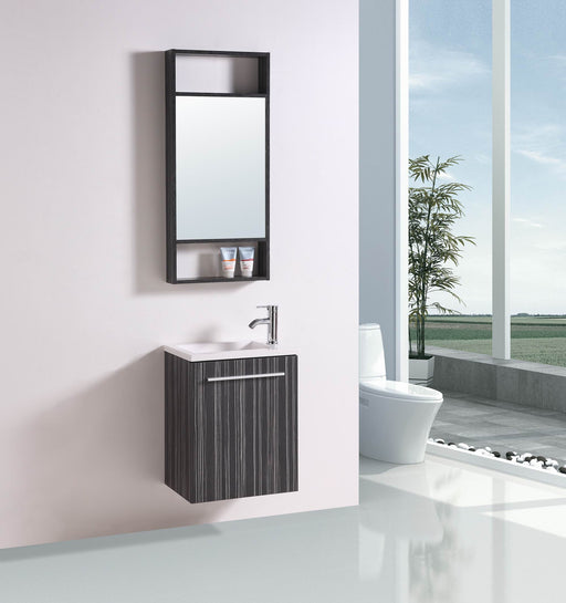 Wesley- 19.5 inch Modern Wall Mounted Black Veneer Bathroom Vanity w/ Resin Sink
