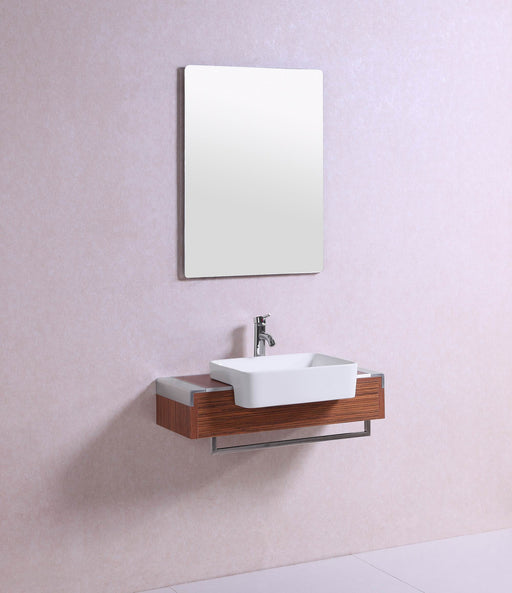 Dakota- 32 inch Modern Wall Mounted Walnut Bathroom Vanity w/ Vessel Sink