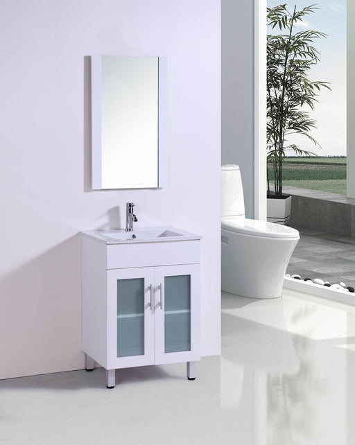 Taylor  24 Inch Modern White Bathroom Vanity W/ Ceramic Countertop