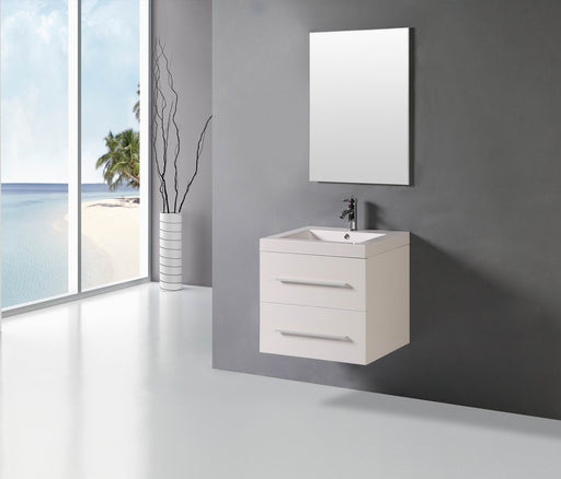 Addison  24 Inch Modern White Wall Mounted Bathroom Vanity
