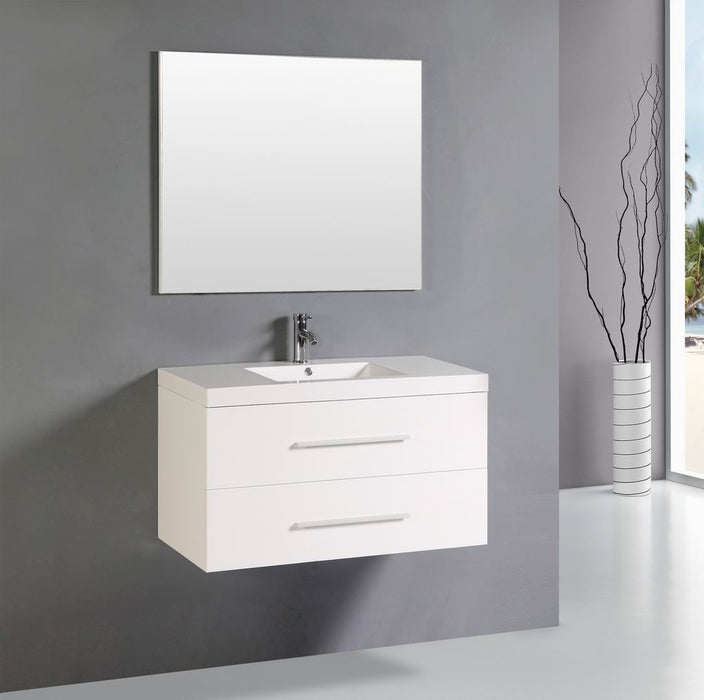 Hayley 40 Inch Modern White Wall Mounted Bathroom Vanity