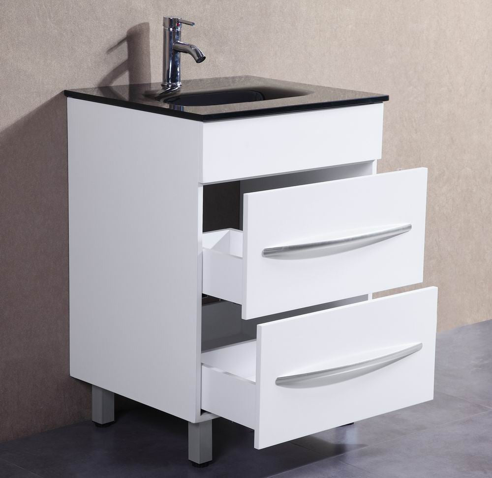 Colin 24 Inch Modern White Freestanding Bathroom Vanity
