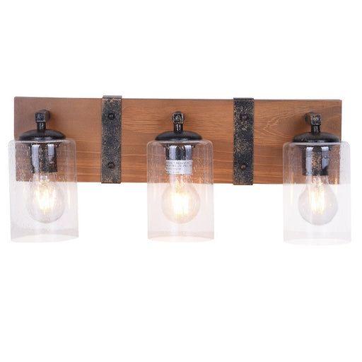 Wood and Metal Rustic Farmhouse Bathroom Vanity 3-Light Fixture