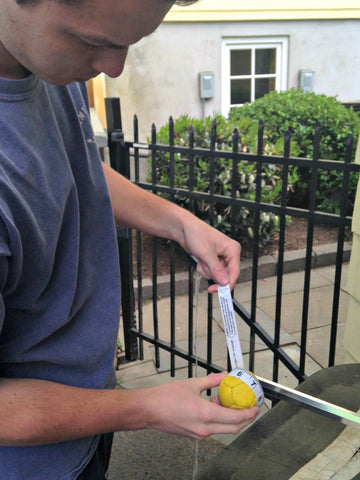 Measuring a wet Swax Lax ball