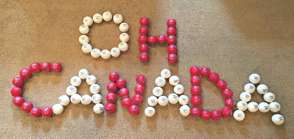 Oh Canada made out of Swax Lax soft lacrosse training balls