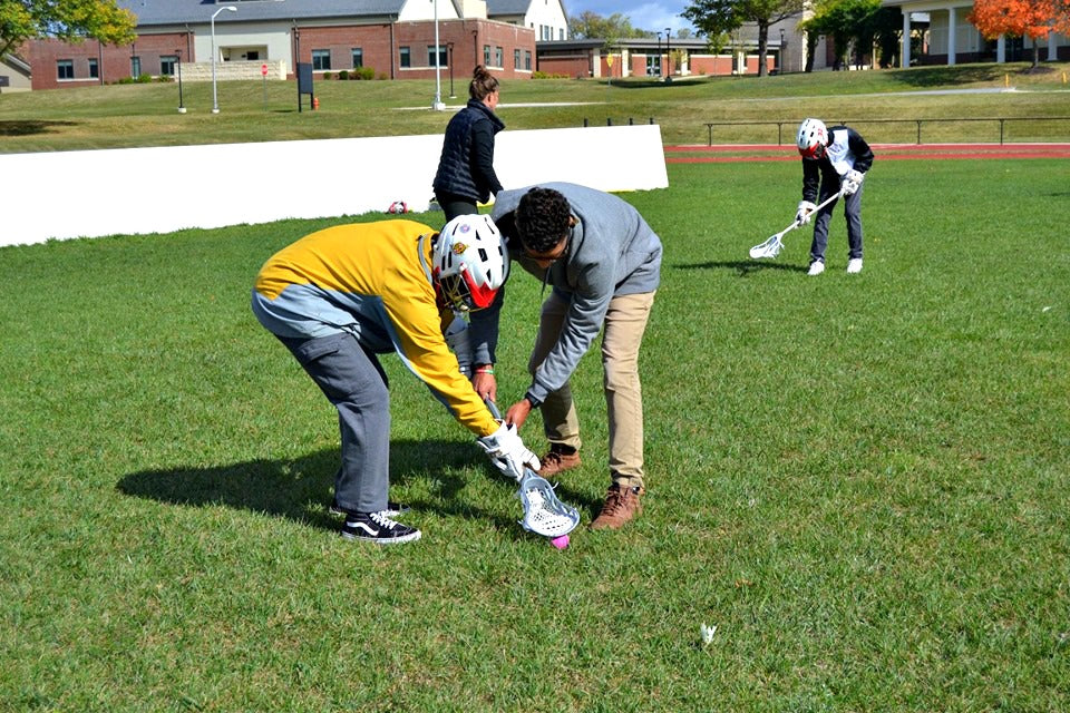 Maryland School for the Blind and Parkville Adaptive Lacrosse learning ground balls and shooting using the first sonic ball for blind lacrosse players