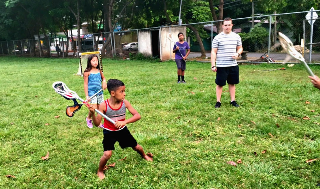 Kids playing lacrosse at Lacrosse the Nations afterschool program