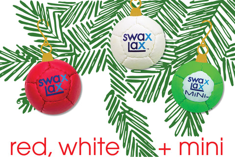 Swax Lax Holiday Bundle: Red, White, and Mini lacrosse training balls at special price
