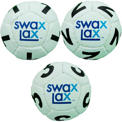 White goalie lacrosse training balls - front view of 3-piece set